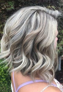 icy silver grey blonde by erika at top hairdressing salon in charlotte